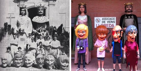 En Ferrer de Gualbes, n'Elionor de Santcliment i els capgrossos de Lloreda l'any 1972 i actualment