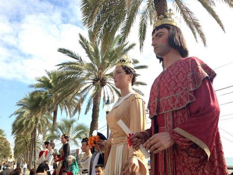 Els gegants a la Rambla, a l'inici de la Fira.