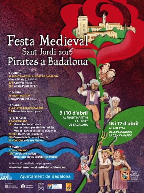 Cartell i programa de la Festa Medieval de Badalona 2016.