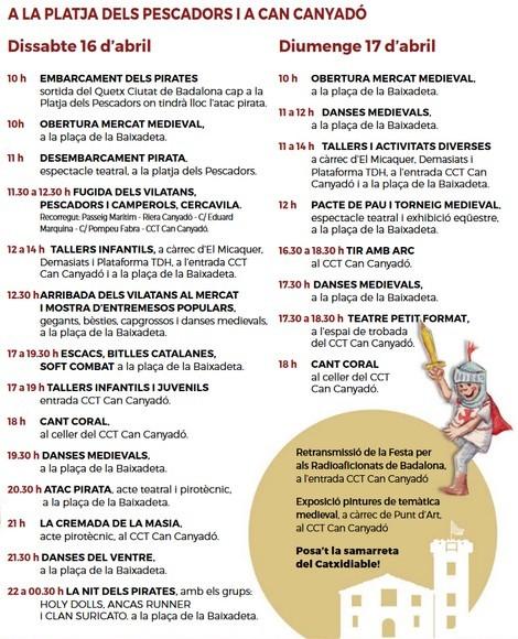 Programa d'actes de la Festa Medieval de Badalona pel cap de setmana del 16 i el 17 d'abril.